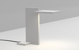 Render of stylish desk light featuring ultra-flat LED panels, printed optics and digital controls.