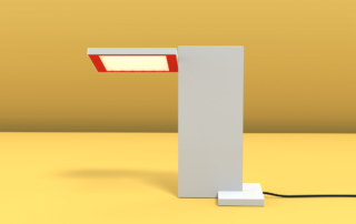 SDA render of Lightly-SDA and Lumenworkx Table fixture featuring Lightly Technology and printed optics.